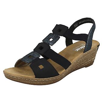 Damen Rieker Wedge Heel Open Toe Sandalen 62488