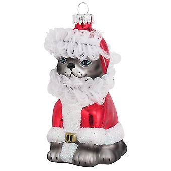 Gray Tabby Kitty Cat Santa Claws Christmas Holiday Glass Ornament