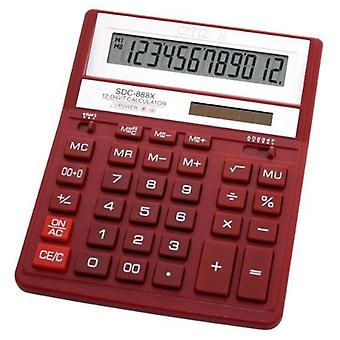 Burger Micro zonne- en batterij Power 12 Digit Calculator - rood (SDC-888XRD)