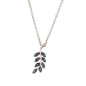 Latelita 925 Sterling Silver Diamond Pendant Necklace Leaf Pink Rose Gold Flower