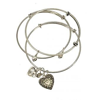 W.A.T Silver Style Touch Heart Bangle Set By Martine Wester