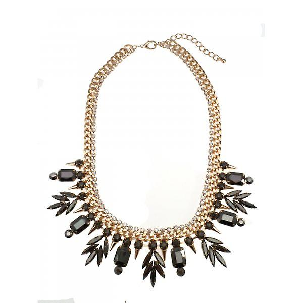 W.A.T Gold Style Chunky Chain And Pewter Crystal Spike Statement Necklace