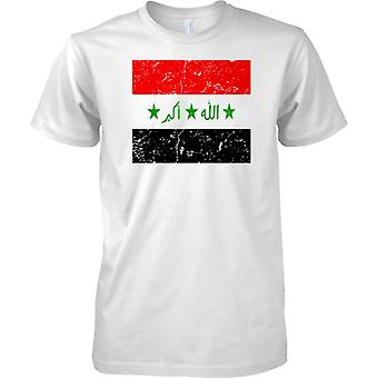 Iraq Distressed Grunge Effect Flag Design - Kids T Shirt