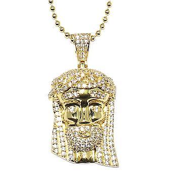Guld Mini Jesus Piece med Crystal detaljer og 30 tommer kugle kæde