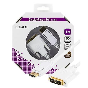 DELTACO DisplayPort to DVI monitor cable, 20-pin ha-18 + 1 have 1 m, white