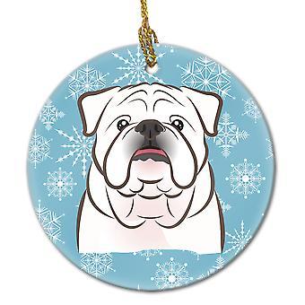 Carolines Treasures  BB1654CO1 Snowflake White English Bulldog  Ceramic Ornament