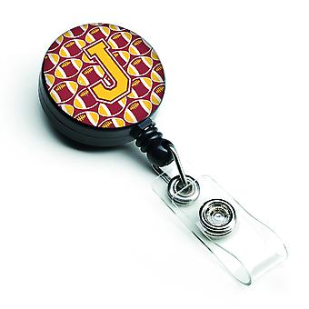 Letter J Football Maroon and Gold Retractable Badge Reel