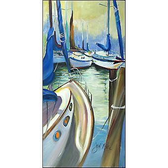 Blue Sails Sailboats Indoor or Outdoor Runner Mat 58x28