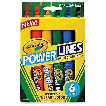 Crayola Power Lines Project Markers 6 Pack - Scented & Vibrant Colour