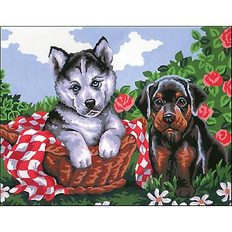 Collection D'Art Stamped Needlepoint Kit 14X18cm-Puppy CD3080K