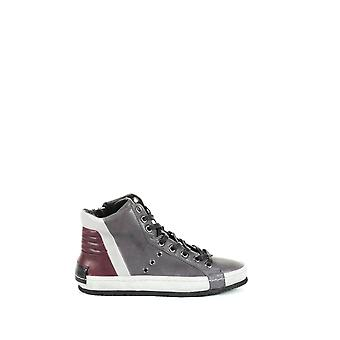 Kriminalitet London mænds 1121130 grå LEDER Hi Top sneakers