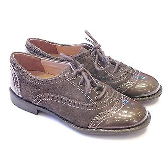 Garvalin Garvalin 111625 Girls Patent And Suede Grey Brogue