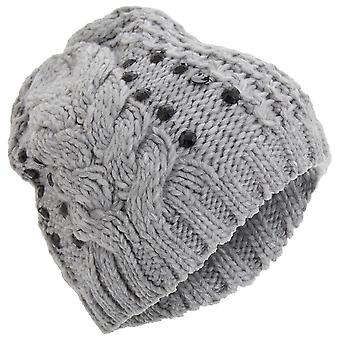 Ladies/Womens Embellished Cable Knit Winter Beanie Hat