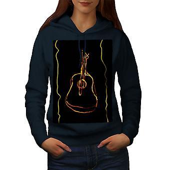 Guitarra novedad arte música mujeres NavyHoodie | Wellcoda