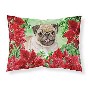 Fawn Pug Poinsettas Fabric Standard Pillowcase