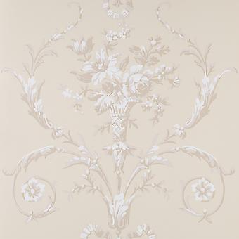 Fresco Flat Floral Wallpaper Roll- De Lacey Neutral Cream - 50-618