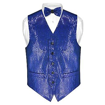 Men's SEQUIN Design Dress Vest & Bow Tie BOWTie Set