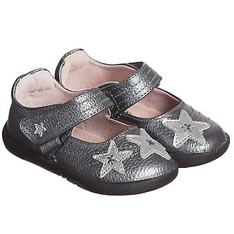 Pediped Starlite Toddler Girls Pewter Leather Barefoot Mary Jane Shoes