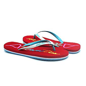 Atlantis Shoes Women Supportive Cushioned Comfortable Sandals Flip Flops Big Logo Red