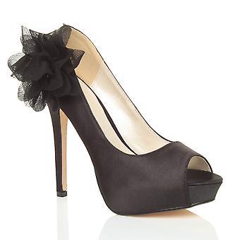 Ajvani womens high heel platform peep toe flower wedding bridal prom evening shoes