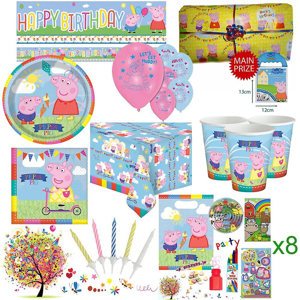 Peppa Pig Party Kit For 8 Guests With Pre Filled Party Bags, Pass The Parcel, Banner, Balloons And Tableware - Ultimate Set