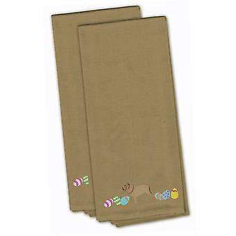 Neopolitan Mastiff Easter Tan Embroidered Kitchen Towel Set of 2