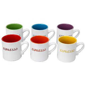 Set of 6 Mini Espresso Tea Coffee Ceramic Mugs Assorted Colours 110ml