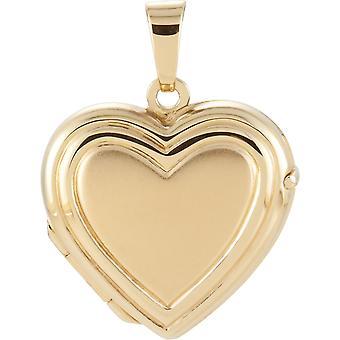 14k gelbes Gold Herz Medaillon-15.75x17.25mm - förmigen 1,8 Gramm