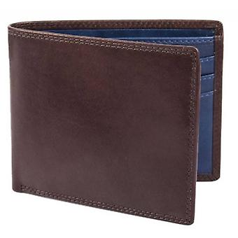 Dents Smooth Leather Bifold Wallet - Chocolate/Cobalt Blue