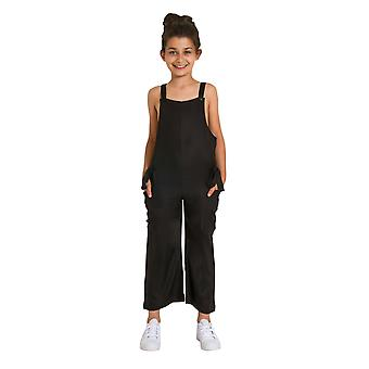 Sleeveless Cropped Jumpsuit for Girls - Black Lightweight Playsuit Age 3-12