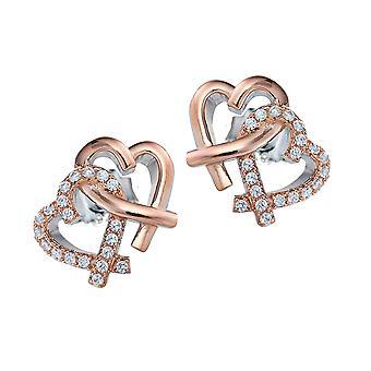 Orphelia plata 925 pendiente doble corazones Rosegoldplated circonio ZO-7250