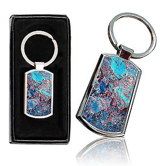 i-Tronixs - Premium Marble Design Chrome Metal Keyring with Free Gift Box (2-Pack) - 0003