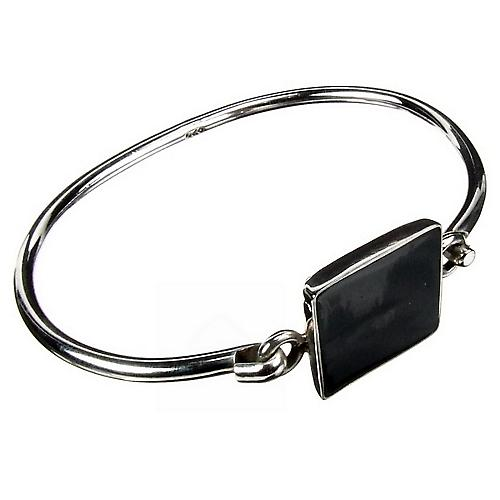 Contemporary Silver Onyx Cuff Bracelet