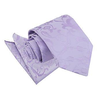 Lila Floral Krawatte & Einstecktuch Satz