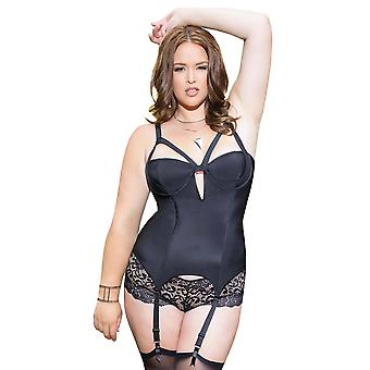 Full Figure BBW Microfiber Boned Powernet Caged Bustier