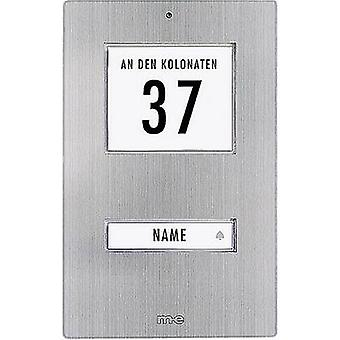 m-e modern-electronics KT 1-EG Bell button backlit, with address field, with nameplate 1x Stainless steel 12 V/1 A