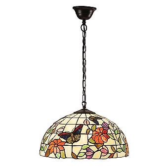 Interiors 1900 Butterfly Single Light Tiffany Ceiling Pendant