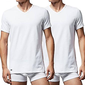 Lacoste Cotton Stretch 2-Pack V-Neck T-Shirt, White, Small