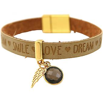 925 silver - bracelet - Angel - Wings - gold plated - WISHES - Brown sand - smoky quartz - magnetic closure