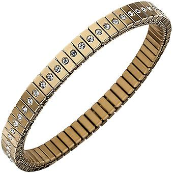 Bracelet stainless steel gold color coated with cubic zirconia all around 19 cm