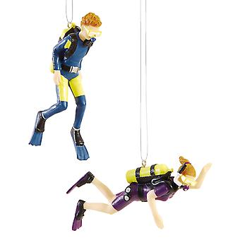 Man and Woman Scuba Divers Diving Christmas Holiday Ornaments Set of 2