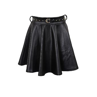 Ladies Wet Look Gold Studded Belted Skater Mini Short Women's Skirt