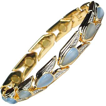 MPS® Venedig magnetiska armband akvamarin stenar gratis länkar borttagningsverktyg