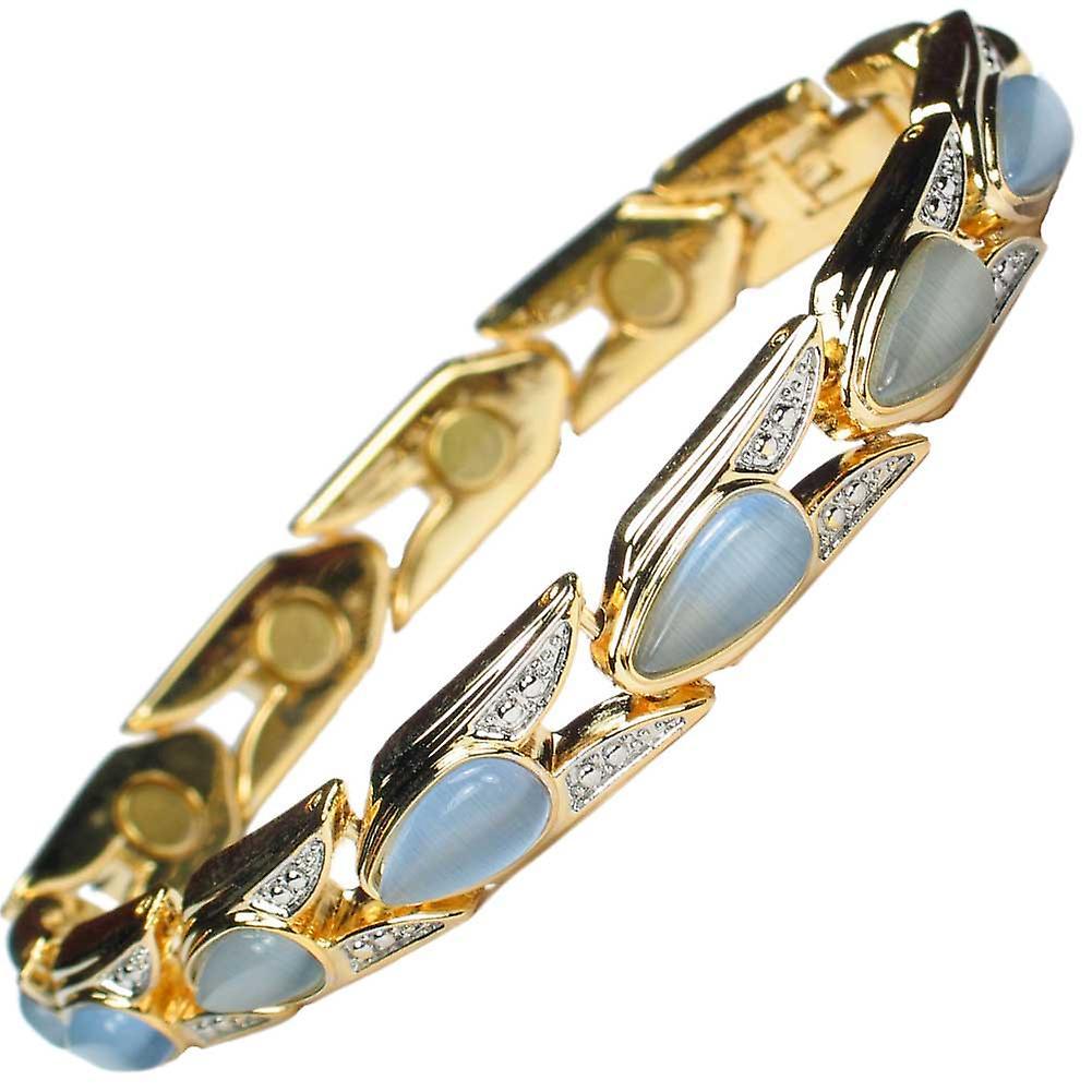 MPS® VENICE Magnetic Bracelet Aquamarine Stones FREE Links Removal Tool