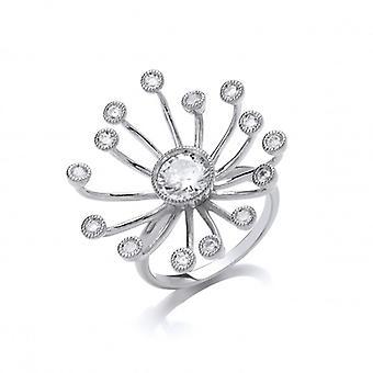 Cavendish französische Silber und Zirkonia Starburst Ring