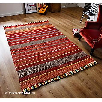 Kelim rayures tapis rouge