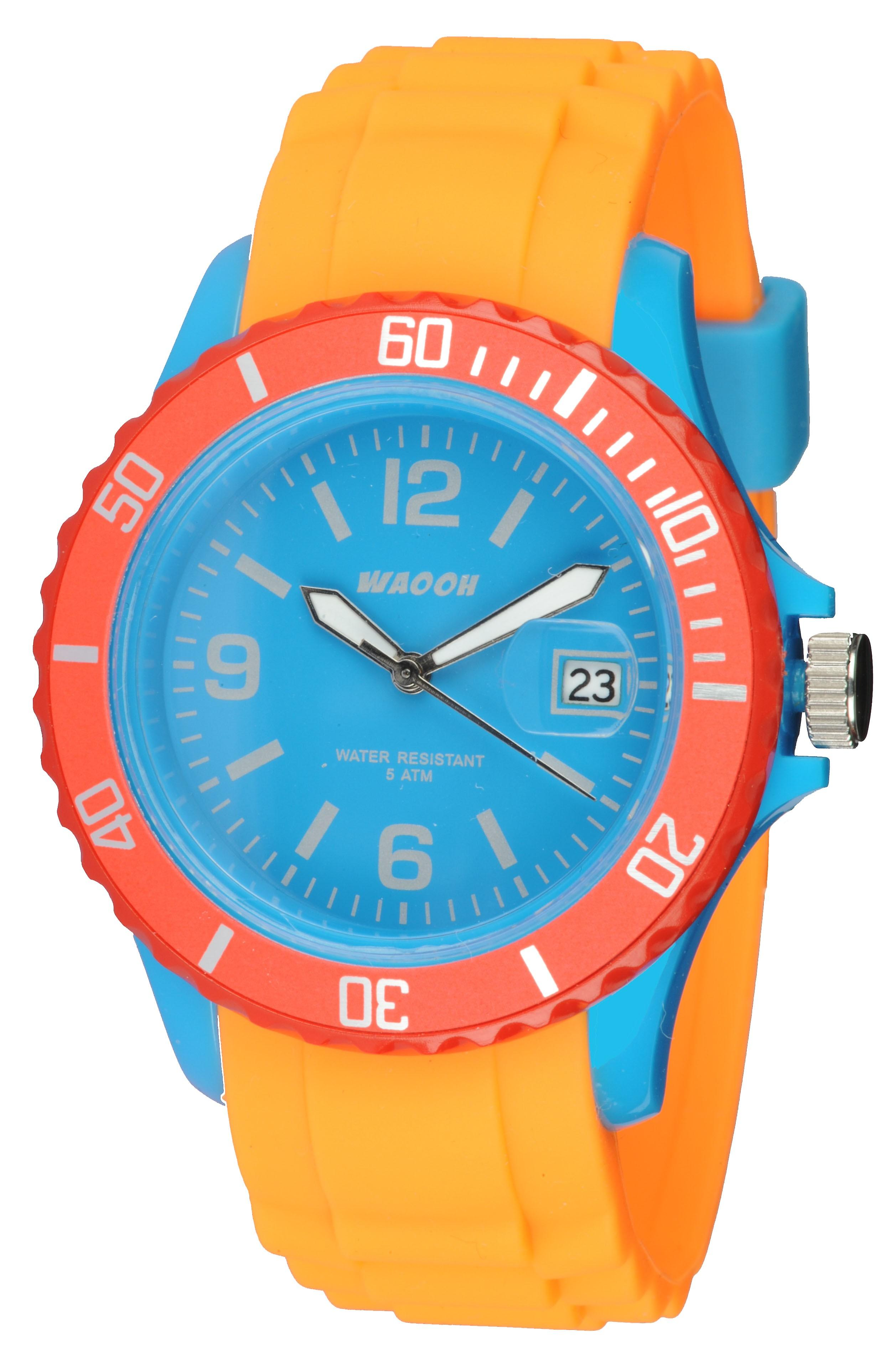Waooh - Watch Monaco38 - Tricolore Turquoise & Red