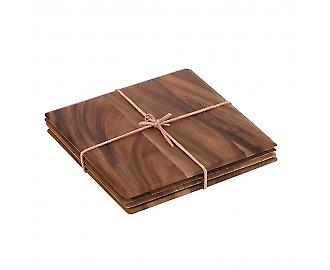 Tuscany Set Of 4 Square Table Mats With Leather Tie In Acacia 10484