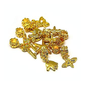 Pakke 10 x guld messing & legering 5-40mm stort hul Charms charme/vedhæng Mix Y07240