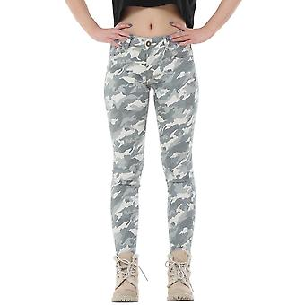 Army Camouflage Slim Stretch Skinny Jeans Cropped Short Leg